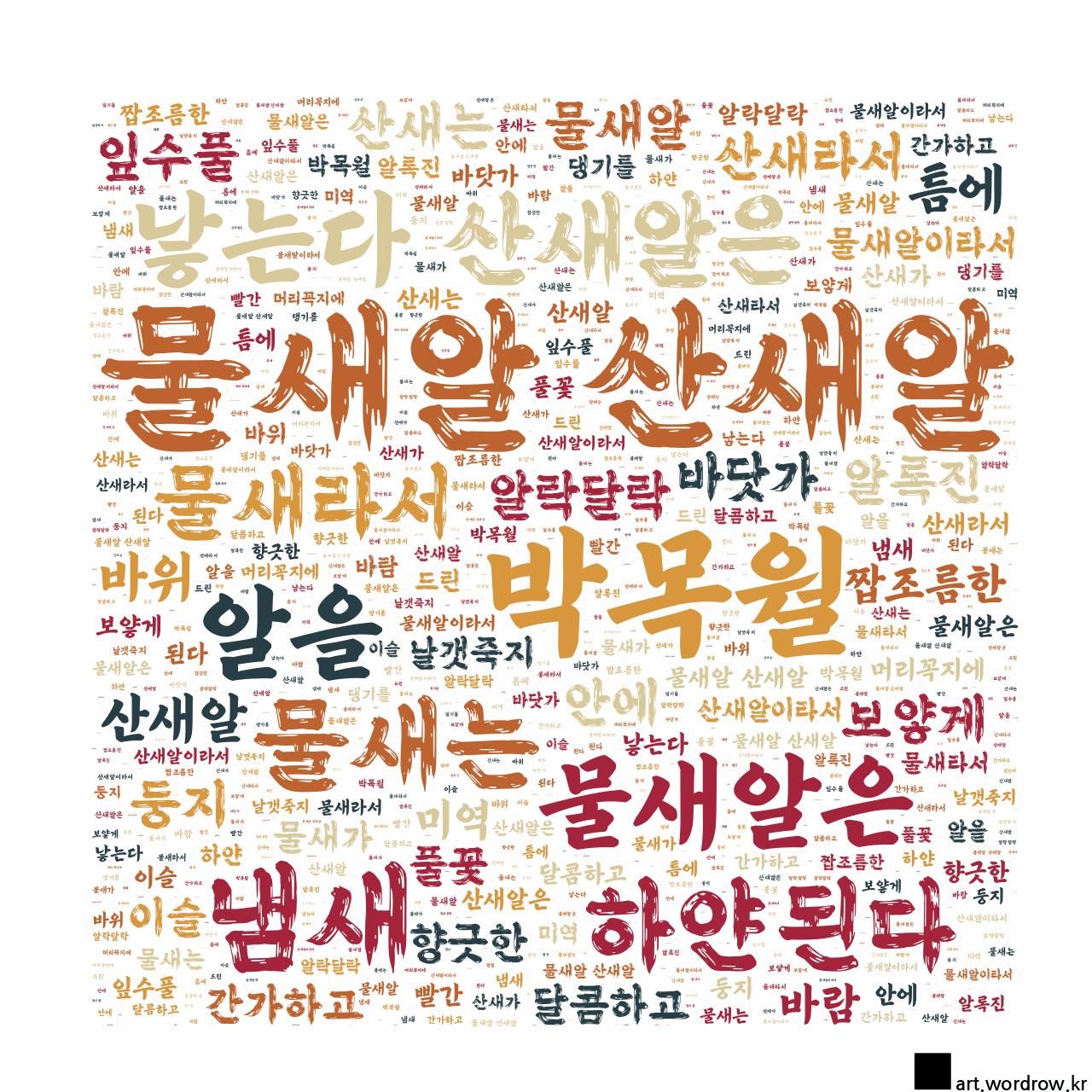 워드 클라우드: 물새알 산새알 [박목월]-35
